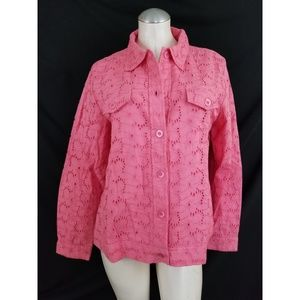 Appleseed's Size L Pink Eyelet Jacket